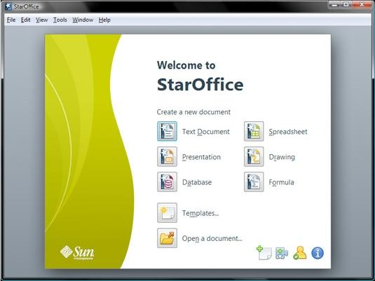 Sun's StarOffice 9 has six main applications