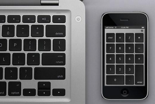 NumberKey Connect lets your iPhone act as the number pad for your Mac; particularly useful for Apple's wireless Bluetooth and laptop keyboards, which lack number keys.