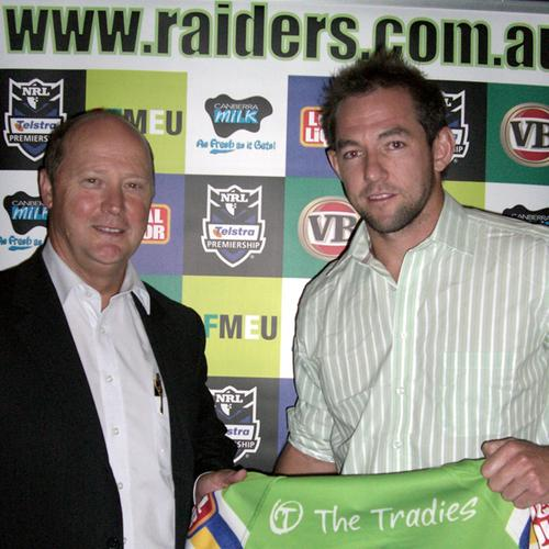 OPC IT's Brett Norton (left) and Canberra Raiders star, Phil Graham