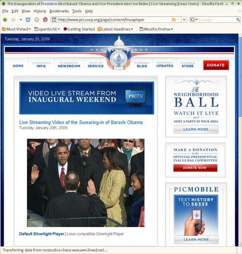 The inauguration of U.S. President Barack Obama was broadcast via Silverlight, yet more than 50,000 viewers watched it using Moonlight on Linux.