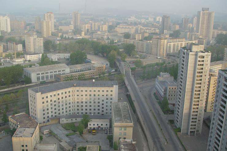 Pyongyang, the capital of North Korea, in a file photo from 2002. More than 3 million of the country's 24 million people live here. The government keeps strict control on its subjects, requiring travel permits to move around the country. Few have access to radio or TV broadcasts from outside the country and Internet access is reserved for a handful of elite members of society.