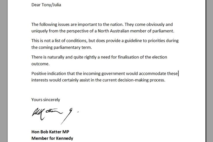 Independent MP, Bob Katter's, introduction letter