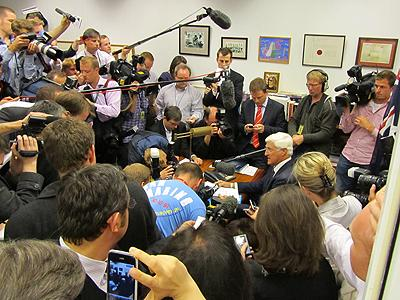 Bob Katter is besieged at his press conference