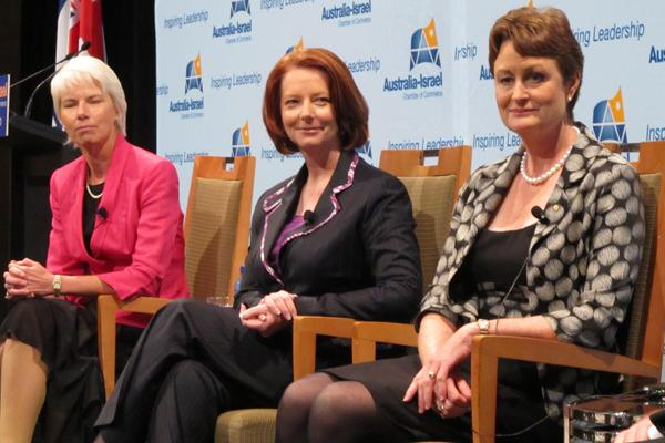 Telstra chairman, Catherine Livingstone (right), with then Westpac CEO, Gail Kelly, and former Prime Minister Julia Gillard.