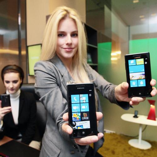 Samsung's Omnia 7 mobile phone. The handset runs Windows Phone 7.