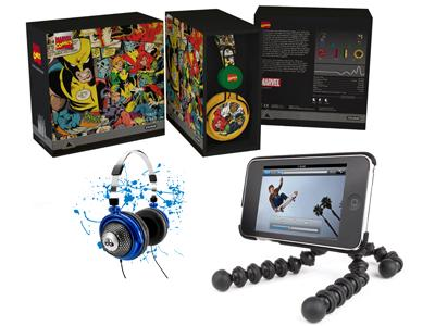 Clockwise from top: Marvel Comics-branded headphones, by Coloud; Gorillamobile for iPod touch, by Joby; dbLogic headphones