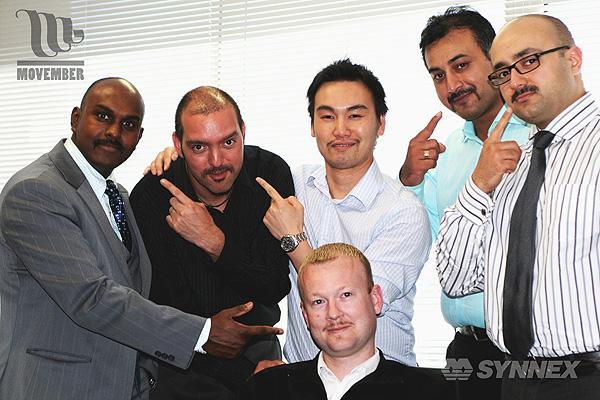 The Synnex Mo Bro's. (L to R): Kartikayan Balasubramaniam - 1173014; Adrian Olguin - 812872; Tony Vong - 1172826; Rahul Sharma - 1144382; Mustafa Shubber - 1044086; Steve Taylor(centre)- 1170848