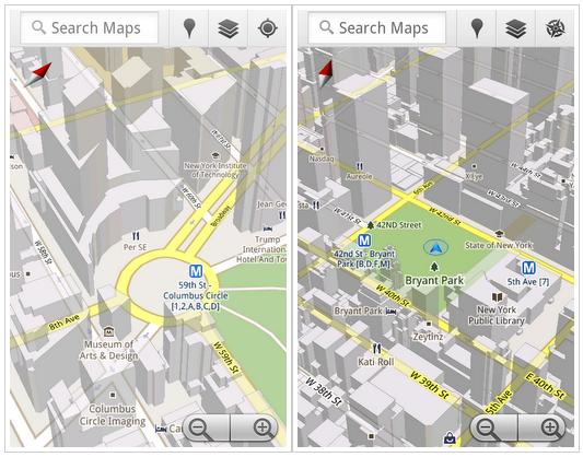 With Google Maps 5.0 for Android the map moves with the user