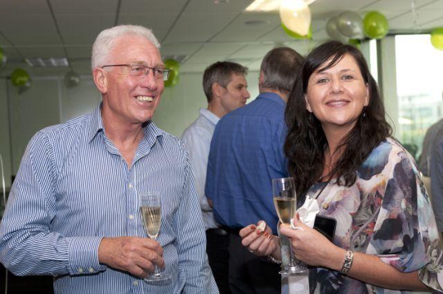 Oxygen's first customer Neil Andrew with Oxygen's Yvette Barnett