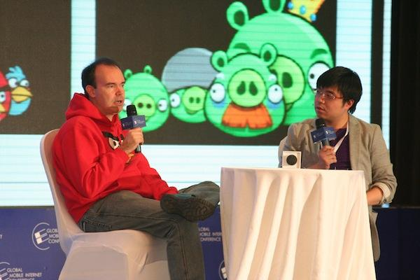 Angry Birds chief marketing officer, Peter Vesterbacka, talks to a crowd in China about Angry Birds