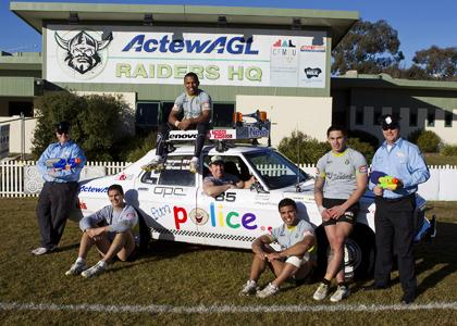 The Fun Police, along with Canberra Raiders'stars Dane Tilse, Travis Waddell, Alan Tongue, Mark Loane and Daniel Vidot
