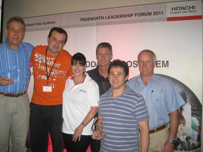 The winners at the TrueNorth Leadership Forum. From left: John Gabor (Lynx), Mark Sakajiou (Perfekt), Wendy Watkinson (Hitachi Data Systems), Brian Nizette (Frontline Systems), Abie Gelbart (Perfekt), and Rick Brown (Surebridge IT)