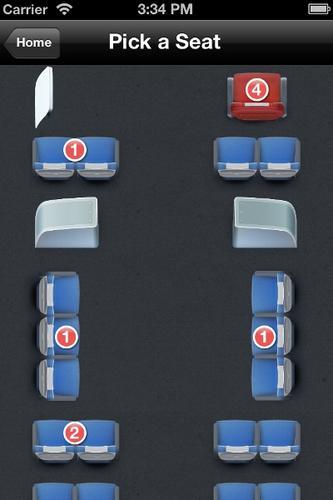 Screenshot of bus seat arrangement