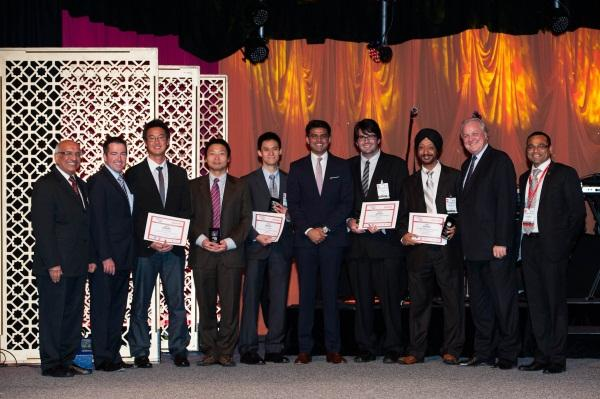 Sachin Pilot (centre), NASSCOM President, Som Mittal (left), NSW MP, Parliamentary Secretary to the Deputy Premier and for Asia-Pacific Trade, Peter Toole (2nd left), NSW Minister for Finance and Services, Greg Pearce (2nd right), and Anu Agrawal (right) with Winners of the 2012 NASSCOM Innovation Student Awards