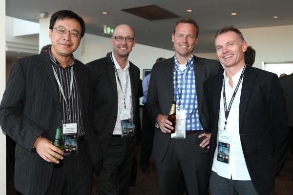 Bluechip Infotech's Johnson Hsuing and Ron Jarvis, ICE Systems' Duncan Journee and Corporate Express'  Steven Mackenzie