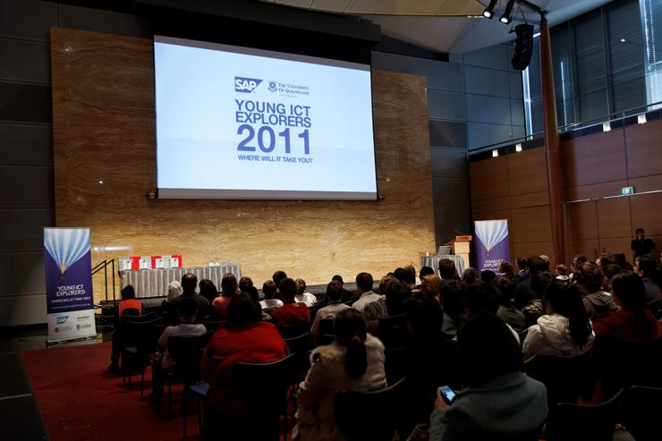 People gather for the opening of the SAP sponsored 2012 Young ICT Explorers competition at the University of New South Wales.
