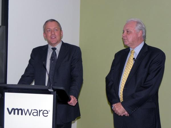 NSW minister for finance and services, Greg Pearce, alongside VMware A/NZ vice-president and managing director, Duncan Bennet.