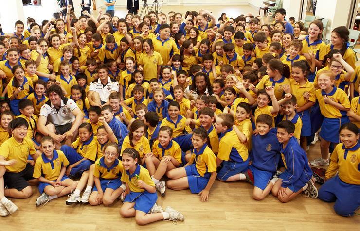 The Wests Tigers visited St Mary's Catholic School in Sydney as part of Trend Micro's online security event