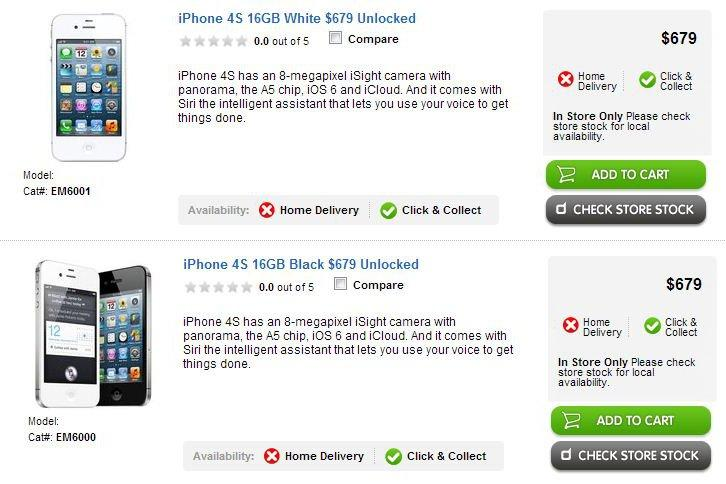 The iPhone 4S, as it appears on the Dick Smith Web site.