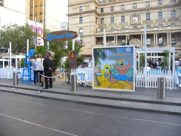 The set-up in front of the Customs house
