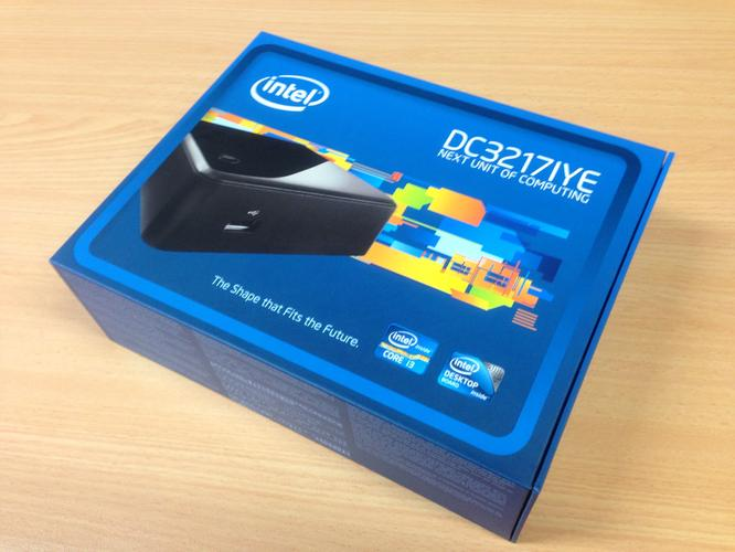 The box for Intel's business NUC, the DC3217YE.