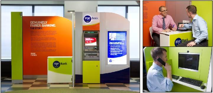 ME Bank's workplace banking kiosk at Telstra's contact centre in Melbourne's CBD.