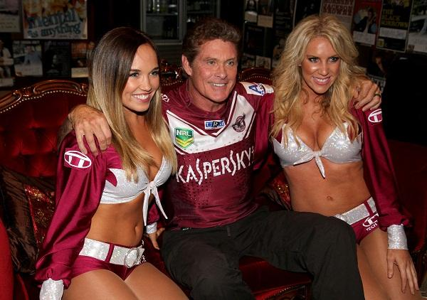 The Hoff with the Tech Titan sponsored Manly Sea Birds cheerleaders