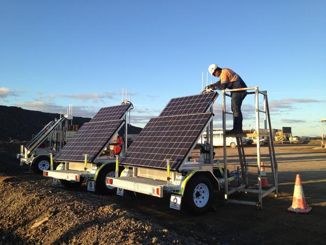 CBO Solar Mobility trailers at Barrick's Cowal gold mine.