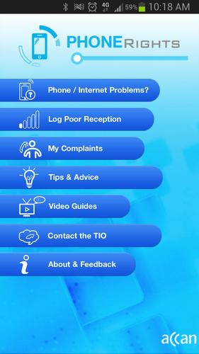 The 'Phone Rights' home page.