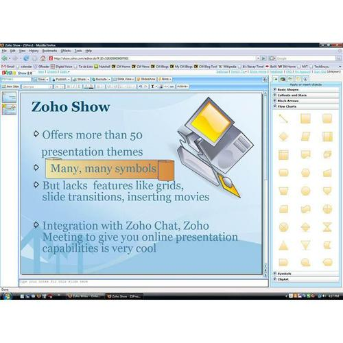 Zoho offers the widest variety of presentation design templates (about 50), and the most useful clip art and symbol collections.