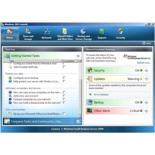Windows Small Business Server 2008 management console