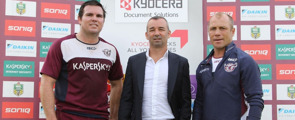 Sea Eagles Captain Jamie Lyon and Coach Geoff Toovey with Sales & Marketing Director of Kyocera Document Solutions Australia, Mark Vella.