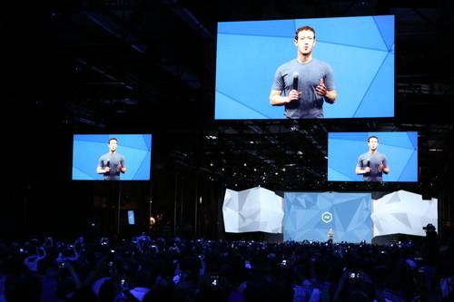 Mark Zuckerberg giving a keynote speech at f8