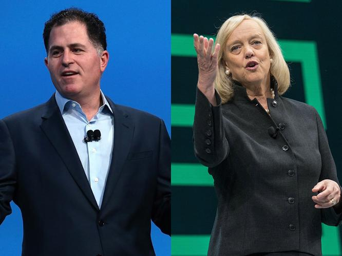 Michael Dell (Dell) and Meg Whitman (HPE)