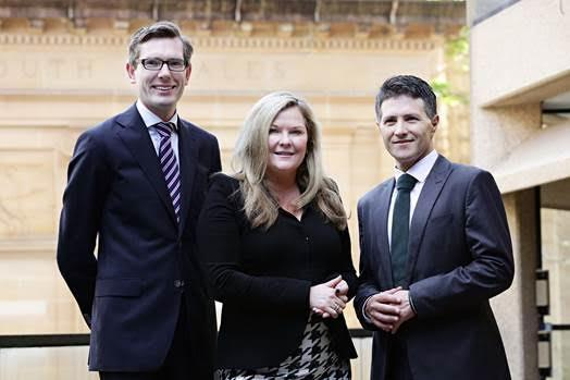 (L to R): Minister for Finance, Services and Property, Dominic Perrottet, Microsoft's Pip Marlow and Michael Gration.