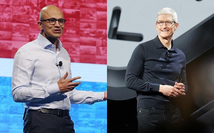 Satya Nadella (CEO - Microsoft) and Tim Cook (CEO - Apple)
