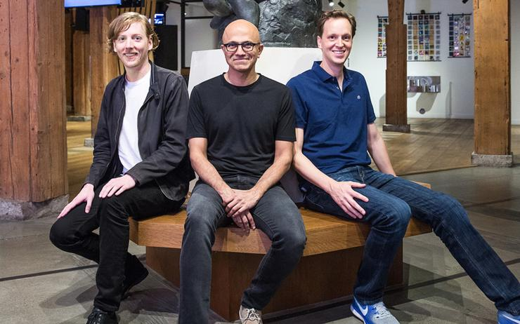 L-R: Chris Wanstrath (Github CEO and co-founder); Satya Nadella (Microsoft CEO) and Nat Friedman (Microsoft corporate vice president, Developer Services)