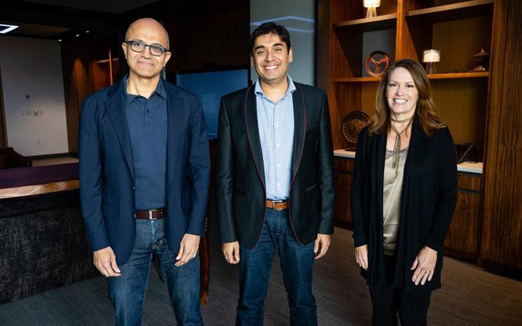 L-R: Satya Nadella (Microsoft); Naveen Tewari (InMobi) and Peggy Johnson (Microsoft)