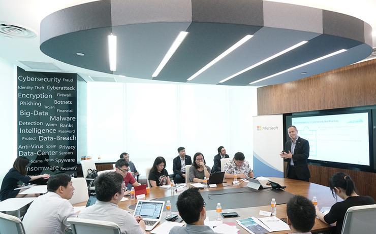 Microsoft addressing the media in Singapore