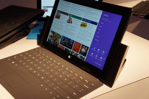 The new Surface Pro 2 with docking station and Touch Cover.