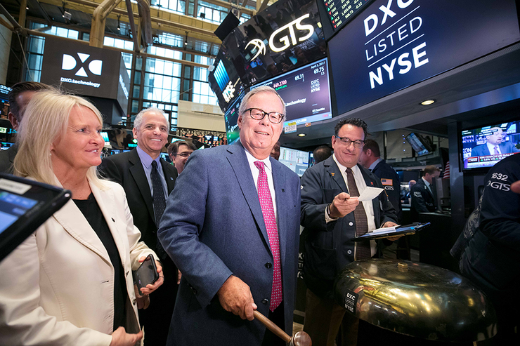 Mike Lawrie - DXC Technology chairman, president and CEO, rings the opening bell at the New York Stock Exchange.