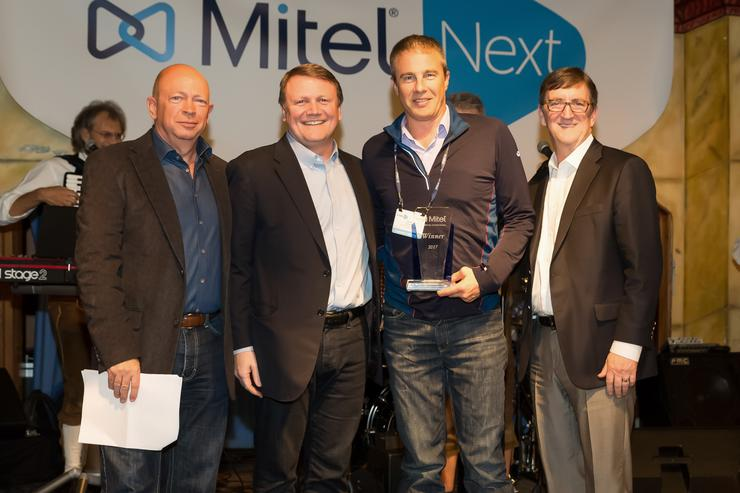 (LtoR): Jeremy Butt (Mitel); Rich McBee (Mitel); David Turnbull (EDV) and Todd Abbott (Mitel)
