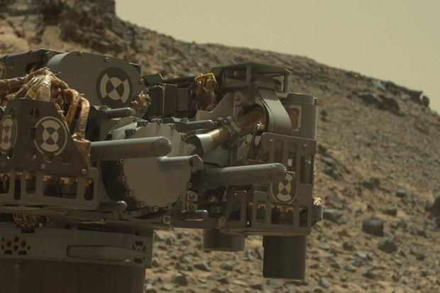 Curiosity took a photo of its drill, using its Mastcam, just after completing a drilling operation at Telegraph Peak on Feb. 24. NASA engineers are trying to figure out what a caused a short circuit in the rover's arm. Credit: NASA