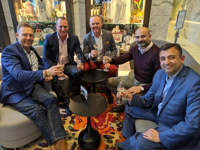 (L to R): Scott Caulfield; Gavin Lawless; John Walters; Amarish Thakur and  Ashish Arnikar