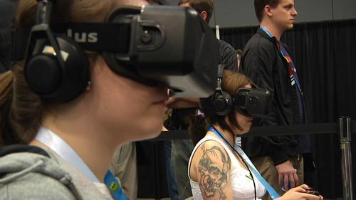 Two women try out the Oculus Rift virtual-reality headset
