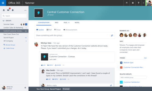 The new Yammer group interface