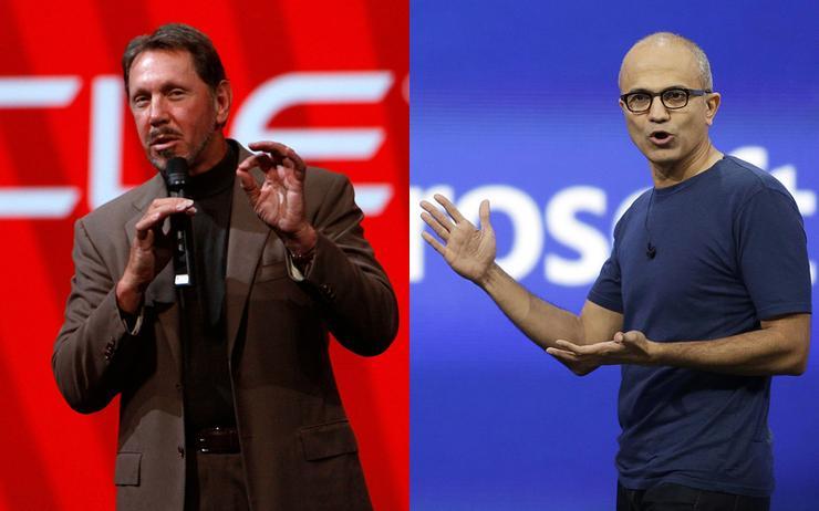 Larry Ellison (Chairman - Oracle) and Satya Nadella (CEO - Microsoft)