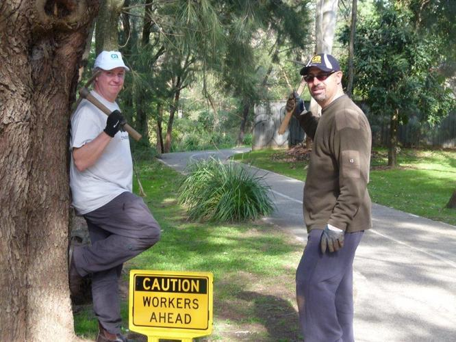 CA Technologies employees Mike Strugnell and William Safar participating in a CA Together in Action volunteering day with Ryde Council for a previous Earth Day.