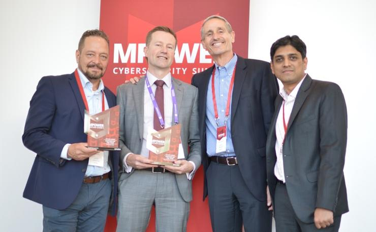 Dimension Data team receiving award from McAfee