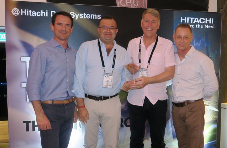 Nathan McGregor (Hitachi Data Systems A/NZ), Mark Sakajiou (Perfekt COM), Craig Tamlin (Perfekt COM), Phil Teague (HDS A/NZ)
